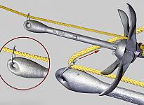 Фото, иллюстрирующее схему крепления троса к якорю лодки ПВХ через скользящую чеку и направление усилия для обрыва чеки
